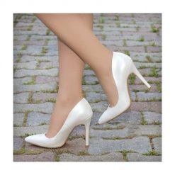 Beyaz Deri Topuklu Ayakkabı Stiletto Ma-021