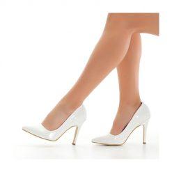 Beyaz Rugan Topuklu Ayakkabı Stiletto Ma-021