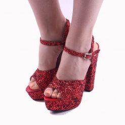 Kırmızı Simli Platformlu Abiye Ayakkabı Kadın