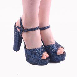 Lacivert Simli Platformlu Abiye Ayakkabı Kadın