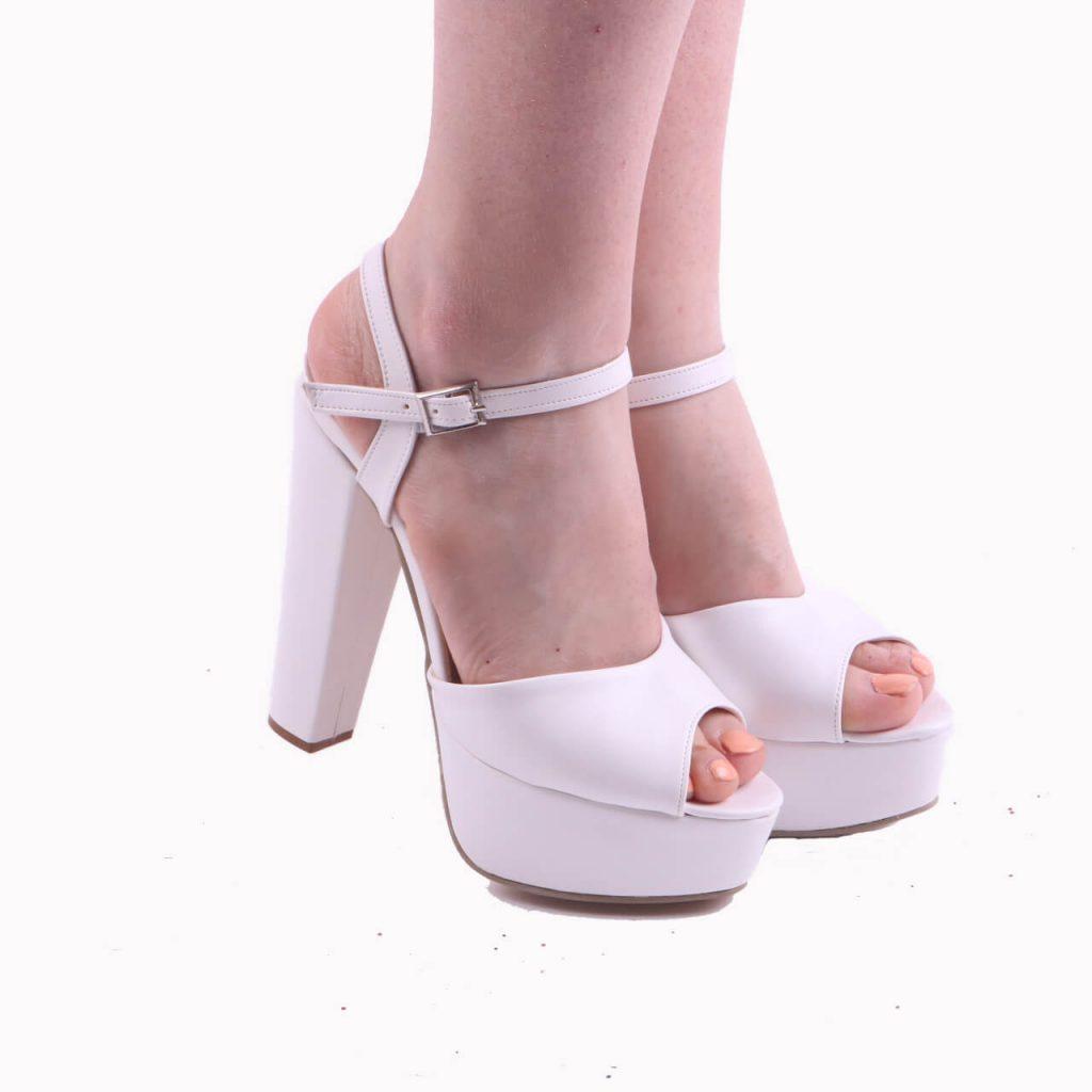 Beyaz Platformlu Abiye Ayakkabı Kadın