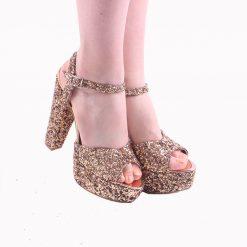 Bej Simli Platformlu Abiye Ayakkabı Kadın