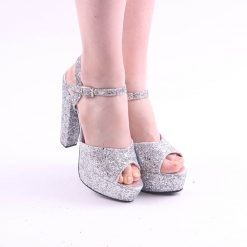 Gri Simli Platformlu Abiye Ayakkabı Kadın