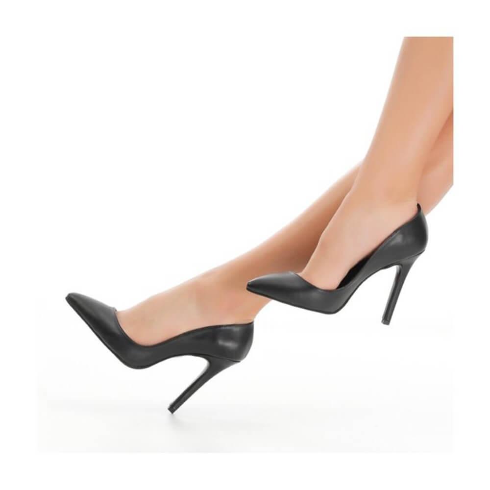 Siyah Deri Topuklu Ayakkabı Stiletto Ma-021