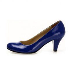 Saks Mavisi Kalın Topuklu Ayakkabı