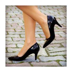 Siyah İnce Topuklu Ayakkabı Rugan Ma-017