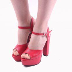 Kırmızı Platformlu Abiye Ayakkabı Sade Kadın
