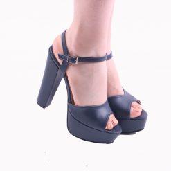 Lacivert Platformlu Abiye Ayakkabı Sade Kadın