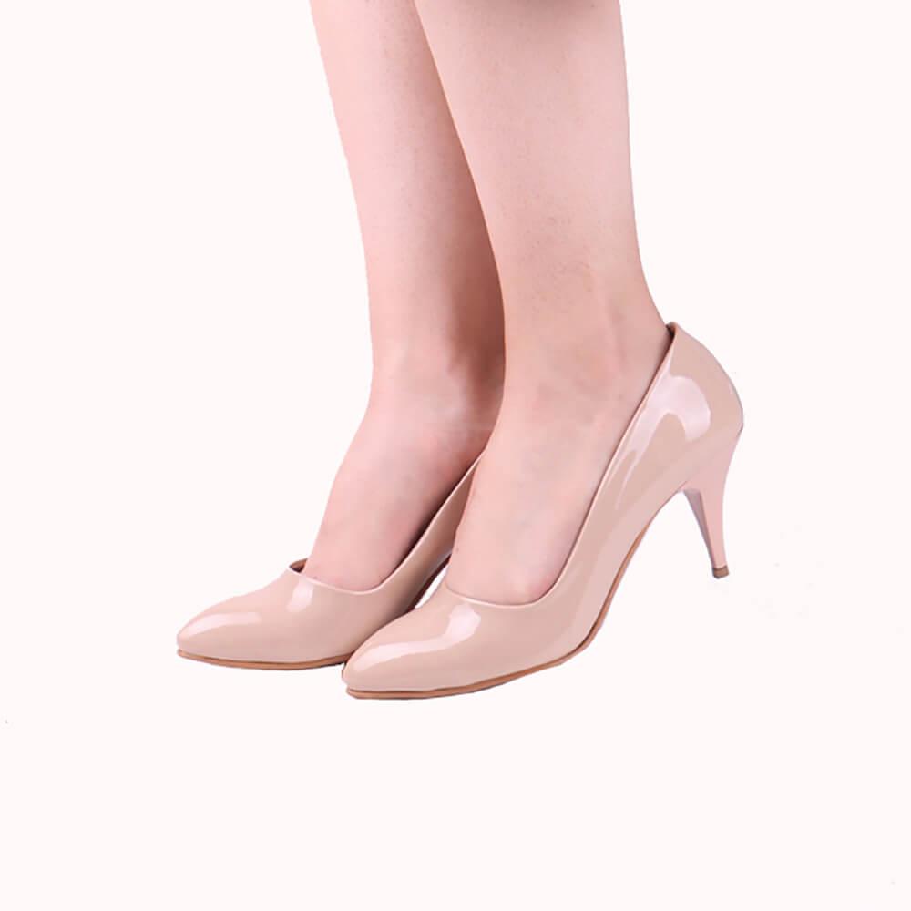 Ten Rengi Klasik Topuklu Ayakkabı İnce Rugan Ma-017