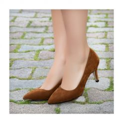 Taba Süet Topuklu Ayakkabı İnce Ma-017