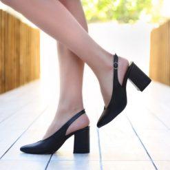 Siyah 7 cm Kalın Topuklu Ayakkabı