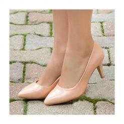 Ten Rengi İnce Topuklu Ayakkabı Rugan Ma-017
