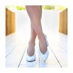 Beyaz 7 cm Kalın Topuklu Ayakkabı