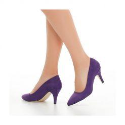 Mor Süet Topuklu Ayakkabı İnce Ma-017