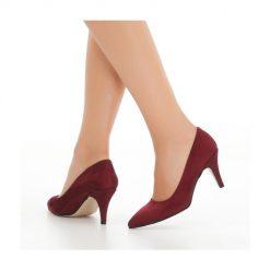 Bordo İnce Topuklu Ayakkabı Süet Ma-017
