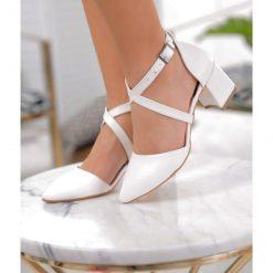 Beyaz Çift Bant Topuklu Ayakkabı Deri