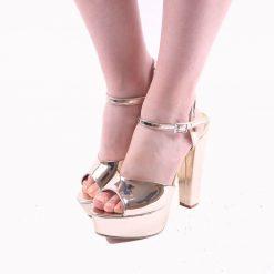 Altın Rengi Platformlu Abiye Ayakkabı Kadın