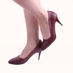 Bordo İnce Topuklu Ayakkabı Deri Ma-017
