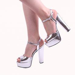 Gümüş Rengi Platformlu Abiye Ayakkabı Kadın
