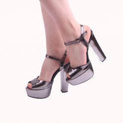 Antrasit Rengi Platformlu Abiye Ayakkabı Kadın