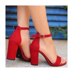 Kırmızı Tek Bant Topuklu Ayakkabı