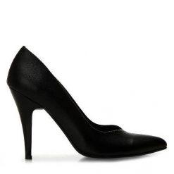 Siyah Deri Stiletto Ayakkabı