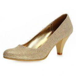 Altın Simli Kalın Topuklu Ayakkabı