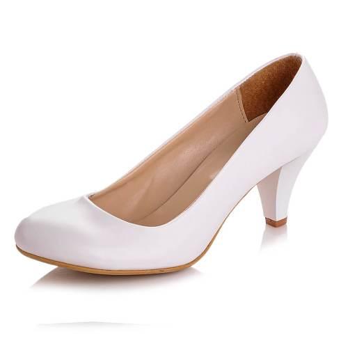 Beyaz Kısa Topuklu Ayakkabı