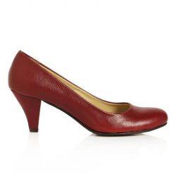 Bordo Kısa Topuklu Ayakkabı