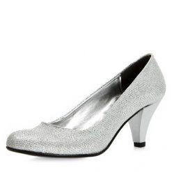 Gümüş Rengi Kısa Topuklu Ayakkabı