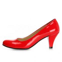 Kırmızı Kalın Kısa Topuklu Ayakkabı