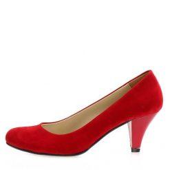 Kırmızı Süet Kısa Topuklu Ayakkabı