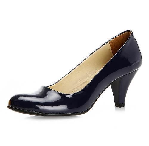 Lacivert Kalın Kısa Topuklu Ayakkabı