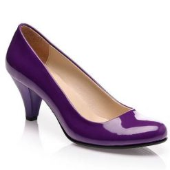 Mor Kalın Kısa Topuklu Ayakkabı