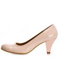 Pudra Kalın Kısa Topuklu Ayakkabı