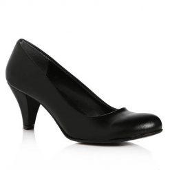 Siyah Kısa Topuklu Ayakkabı Deri