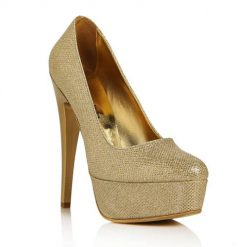 Altın Simli Platform Yüksek Topuklu Ayakkabı Ma-008