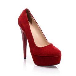 Kırmızı Süet Platform Yüksek Topuklu Ayakkabı Ma-008