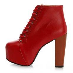 Kırmızı Deri Kalın Topuklu Bot
