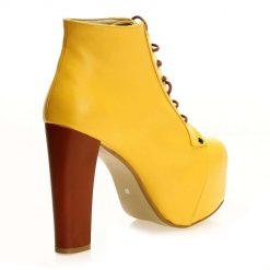 Sarı Deri Kalın Topuklu Bot
