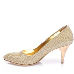 Altın Sarısı Topuklu Ayakkabı Simli Ma-017