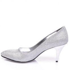 Gümüş İnce Topuklu Ayakkabı Simli Ma-017
