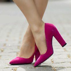 Fuşya Kalın Topuklu Ayakkabı Süet Ma-023