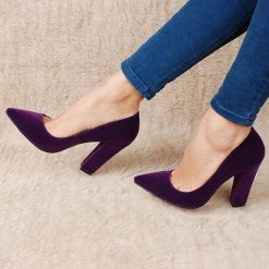 Mor Kalın Topuklu Ayakkabı Süet Ma-023