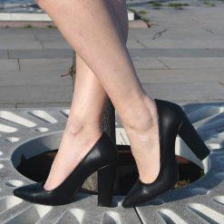 Siyah Yüksek Topuklu Ayakkabı Deri Ma-023