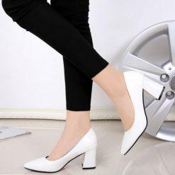 Beyaz Rugan Kalın Topuklu Ayakkabı Ma-024