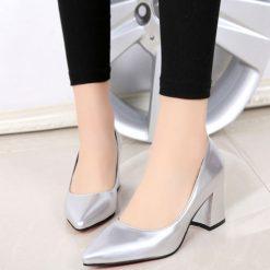 Gümüş Kalın Topuklu Ayakkabı Ma-024