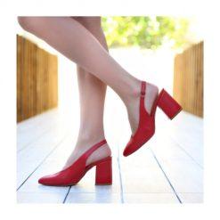 Kırmızı 7 cm Kalın Topuklu Ayakkabı