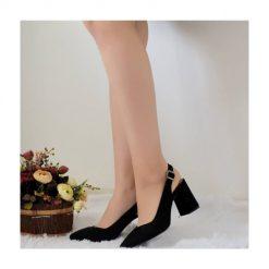 Siyah Süet Kalın Topuklu Ayakkabı