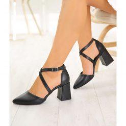 Siyah Çapraz Bantlı Topuklu Ayakkabı Deri